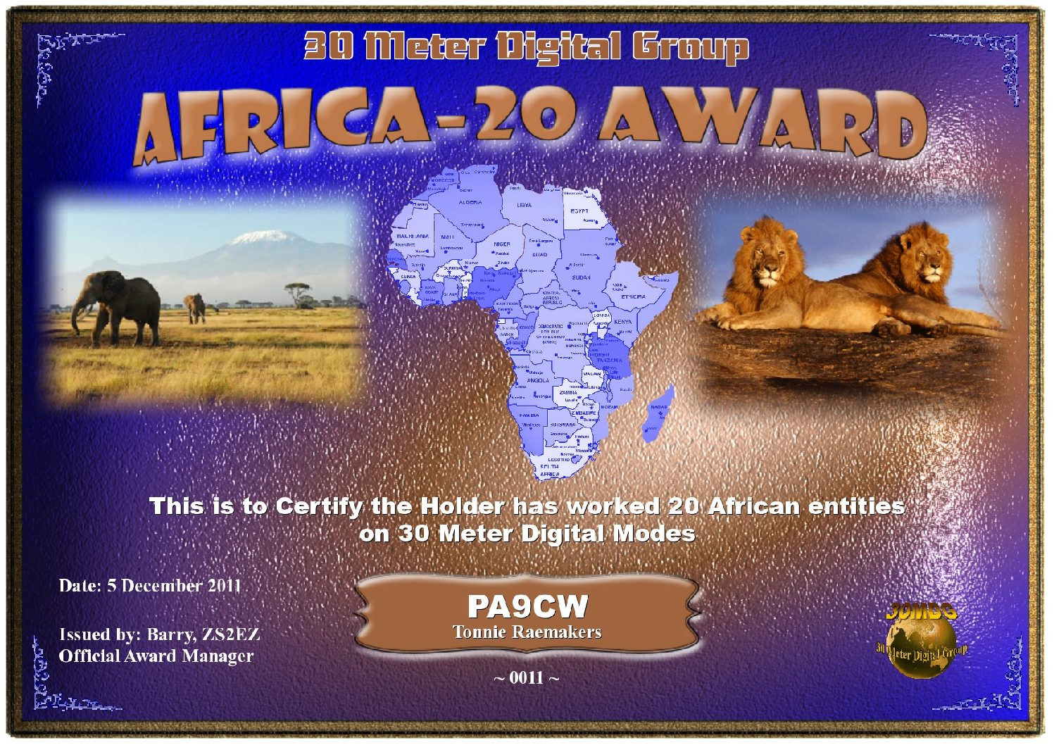Pa9Cw-30Mdg-Africa-20-Certificate
